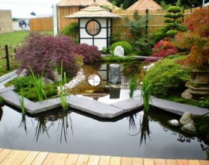 Modern and Traditional Japanese inspired water gardens, both using rock
